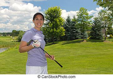 kvindelig, spiller golf, på, den, fairway