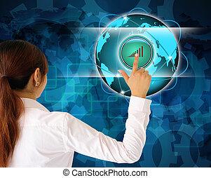 kvinder branche, skubbe en knap, på, en, berøring skærm, grænseflade