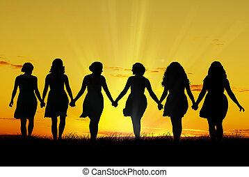 kvinder, gå, hånd ind hånd