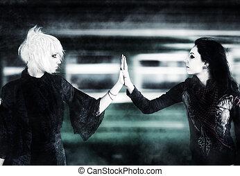 kvinder, goth, røre to, hænder
