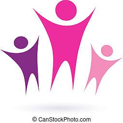 kvinder, gruppe, /, samfund, ikon