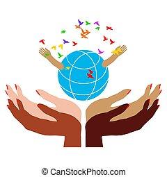 kvinder, hud omsorg, forskellige, miljøbestemte, mange farver, greb, globe., hænder