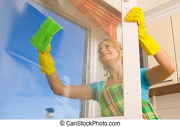 kvinder, rensning, en, vindue, 4