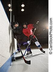 kvinder, spille, hockey.