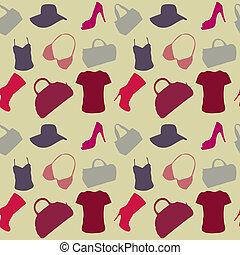 kvinder, tilbehør, seamless, mønster