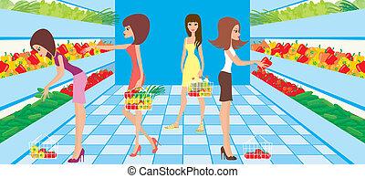 kvinder, udvælg, grønsager