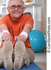 kvinna, äldre, övning
