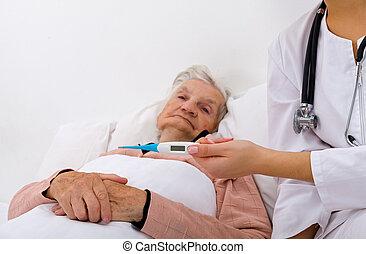 kvinna, äldre, sjuk