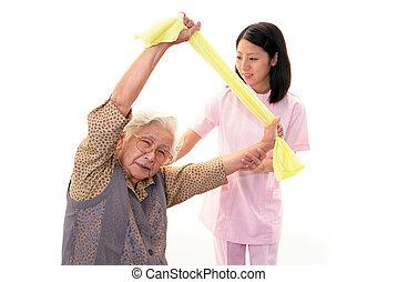 kvinna, äldre, sköta