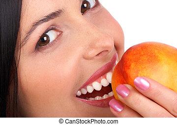 kvinna, äpple