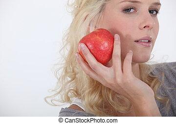 kvinna, äpple, holdingen, ung