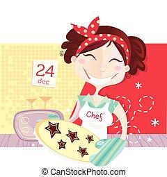kvinna, är, tillverkning, jul småkakor