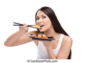 kvinna ätande, attraktiv, sushi, matpinnar