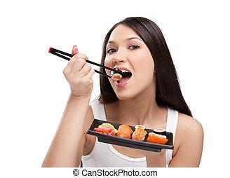 kvinna ätande, attraktiv, sushi