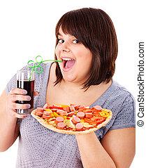 kvinna ätande, fasta, mat.
