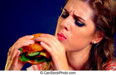 kvinna ätande, fasta, mat., flicka, avnjut, utsökt, hamburger.