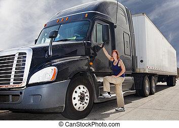 kvinna, åka lastbil chauffören