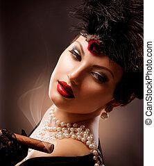kvinna, årgång, cigarr, portrait., retro, designa, flicka