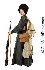 kvinna, årgång, dräkt, rysk, cossack, rifle.