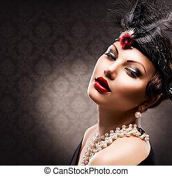 kvinna, årgång, portrait., retro, designa, flicka