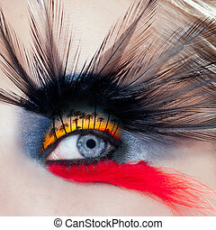 kvinna öga, makro, smink, träd, svart, palm strand, fågel