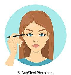 kvinna öga, smink, liner., ansiktsbehandling, applicera