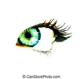 kvinna, ögon