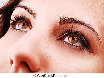kvinna, ögon, vacker