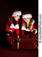 kvinna, öppning, gift., jultomten, jul, dräkt, två