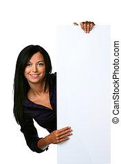 kvinna, öppning, ung, annonsering, bord, tom