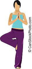 kvinna, öva, yoga, exercises., v
