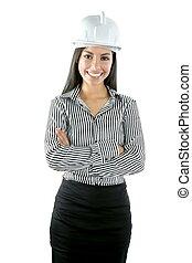 kvinna, över, indisk, arkitekt, stående, vit