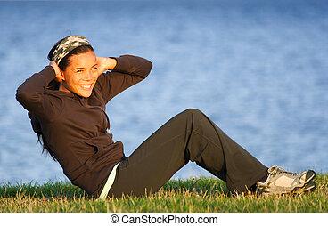 kvinna, övning, /, sit-ups