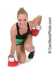 kvinna, 2, boxare