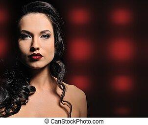 kvinna, abstrakt, brunett, attraktiv, bakgrund, över