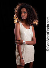 kvinna, afrikansk, vacker, ung