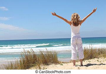 kvinna, andning, strand