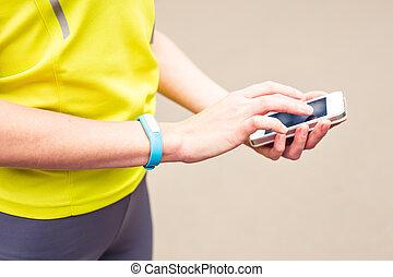 kvinna, användande, aktivitet, förföljare