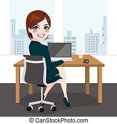 kvinna, arbeta ämbete, sittande