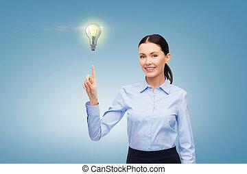 kvinna, arbete, med, inbillad, virtuell, avskärma