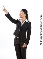 kvinna, asiat, pekande, affär, något