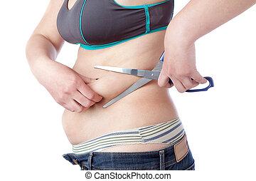 kvinna, av, överdrift, fett, bakgrund., scissors., ...