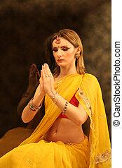 kvinna, av, indien