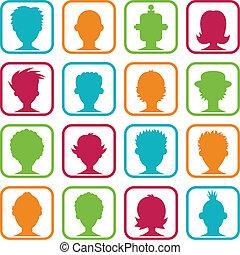 kvinna, avatars, färgrik, man