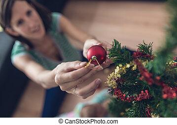 kvinna, avbild, träd, ung, retro, inred, helgdag