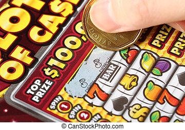 kvinna, avlysning, lotteri, uppe, tickets., nära