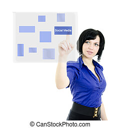 kvinna, avskärma, styrelse, isolerat, attraktiv, pressande, interface., toucha, white.