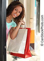 kvinna, bärande, handling väska