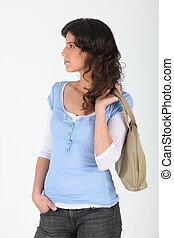 kvinna, bärande, portmonnä