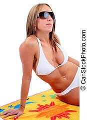 kvinna, bärande solglasögoner